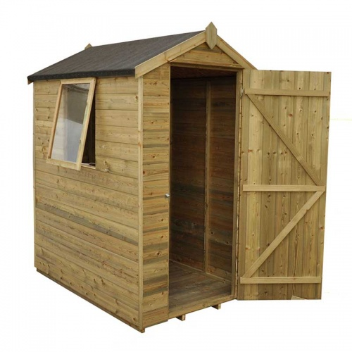 6 x 4 Shiplap Pressure Treated Apex Wooden Garden Shed Single Door