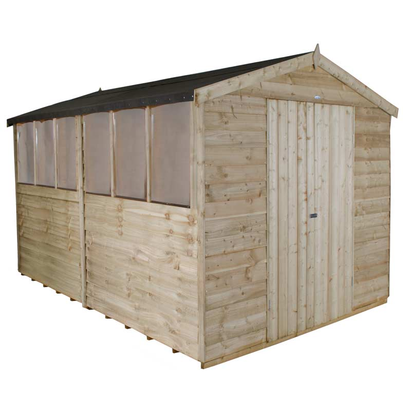 Overlap Pressure Treated 12x8 Apex Shed Double Door