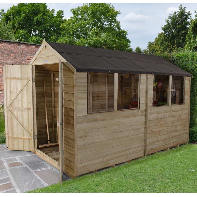 10x6 Overlap Pressure Treated Apex Shed Double Doors Windows