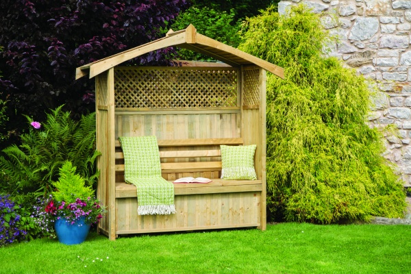 NEW ARBOUR STORAGE BOX WOODEN PRESSURE TREATED 1.97x0.63x2.06m
