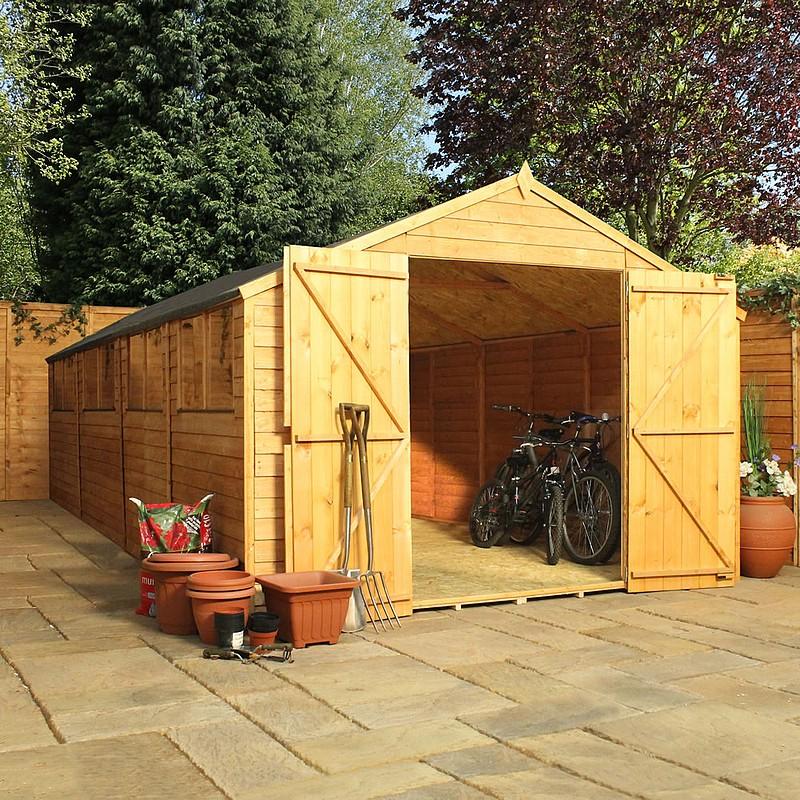 20x10 wooden workshop garden shed 20ft x 10ft double doors for 20x10 garage door