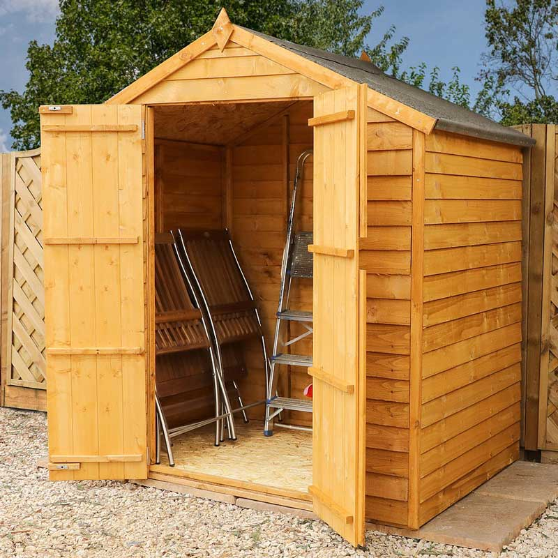 6 x 4 Overlap Double Door Apex Wooden Garden Shed