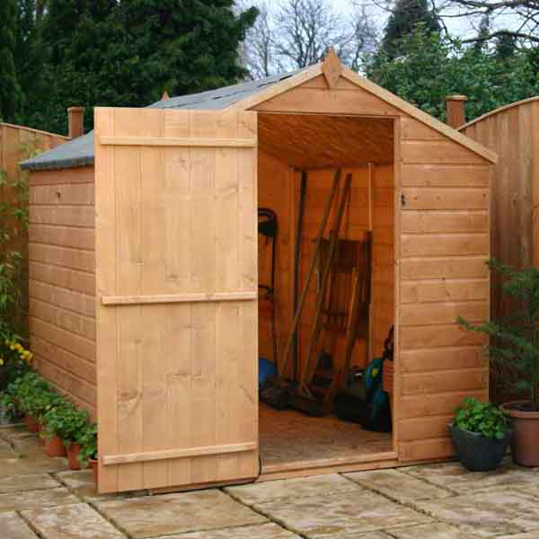 8 x 6 Value Shiplap Tongue & Groove Apex Wooden Garden Shed Large Door