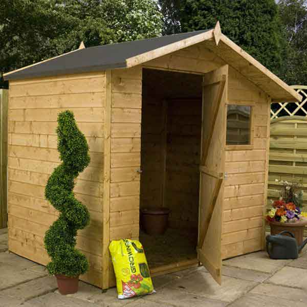 7 x 5 tongue and groove apex wooden garden shed single door