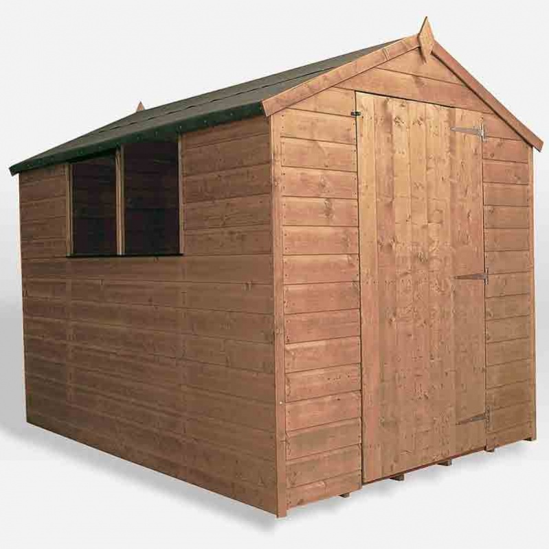 8 x 6 Shiplap Pressure Treated Apex Wooden Garden Shed Single Door