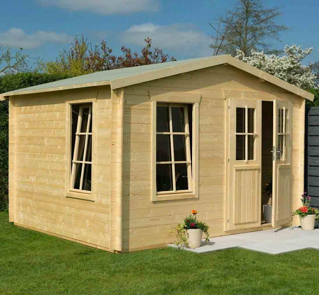 11 x 10 Wooden Log Cabin Executive Garden Office