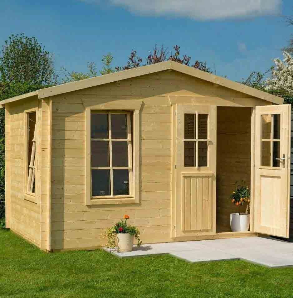11 x 7 Wooden Log Cabin Executive Garden Office