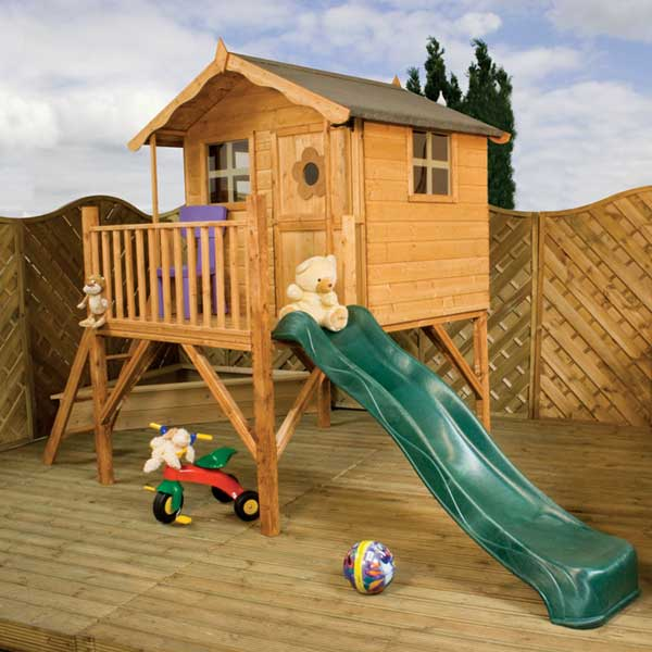 Attirant 12 X 5 Tulip Tower Playhouse U0026 Slide Childrens Wooden Play House