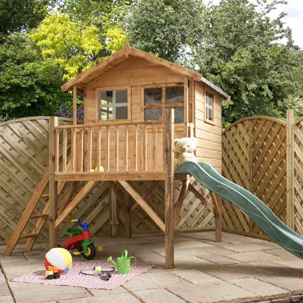 Merveilleux 12 X 5 Poppy Tower Playhouse U0026 Slide Childrens Outdoor Wooden Play House  Tower