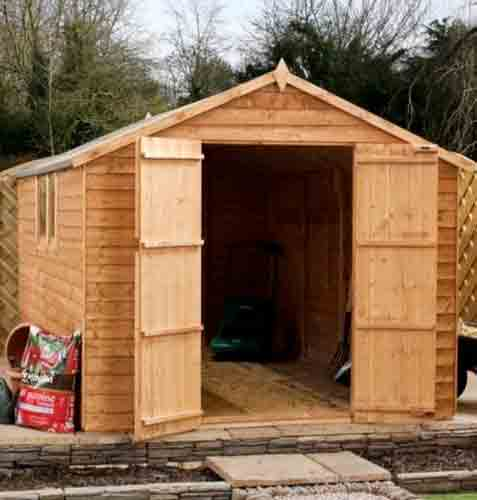 8 x 8 Overlap Wooden Apex Garden Shed Windows Double Door