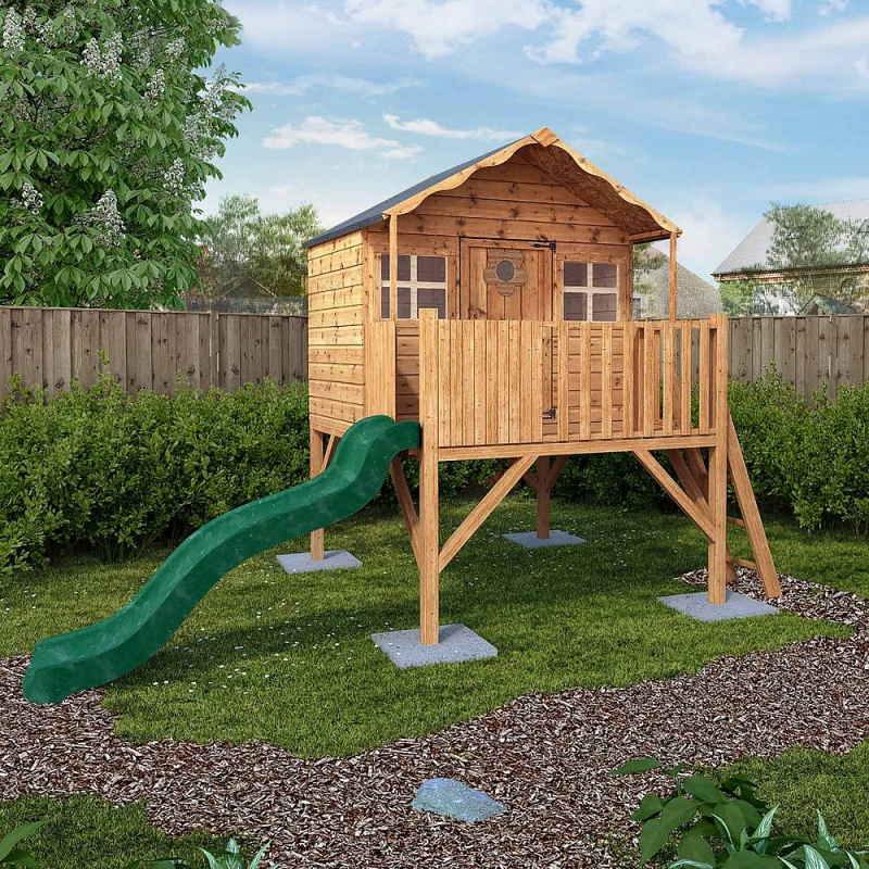 14 x 7 Honeysuckle Tower Playhouse & Slide Childrens Outdoor Play House