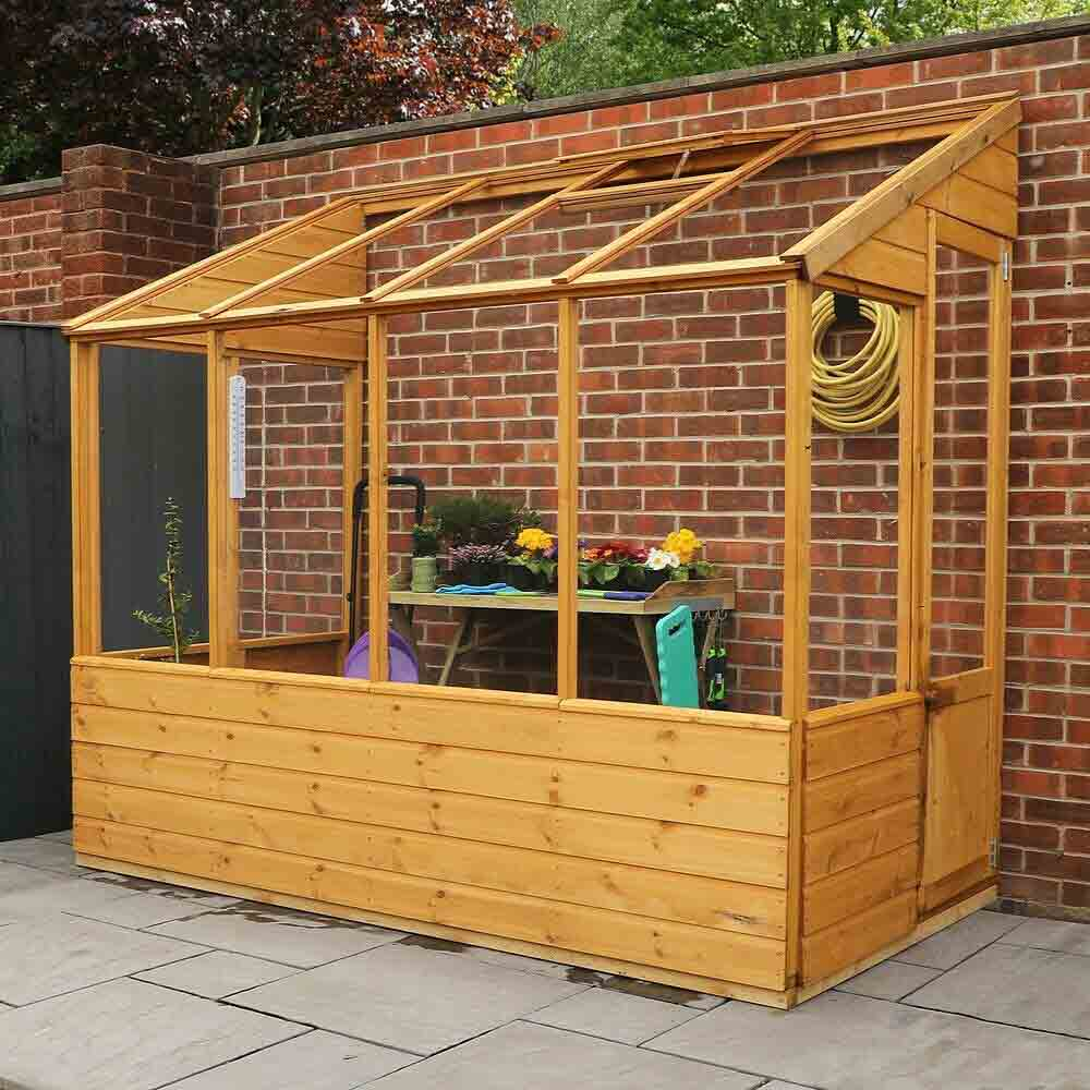 8 x 4 Wooden Lean-To Pent Greenhouse
