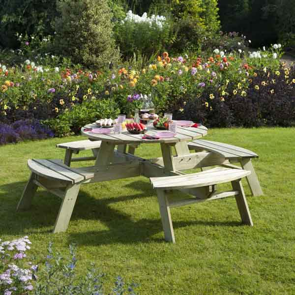Rowlinsons Pressure Treated Round Garden Picnic Table