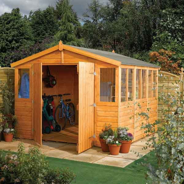 18 x 9 Rowlinsons Workshop Wooden Apex Garden Shed