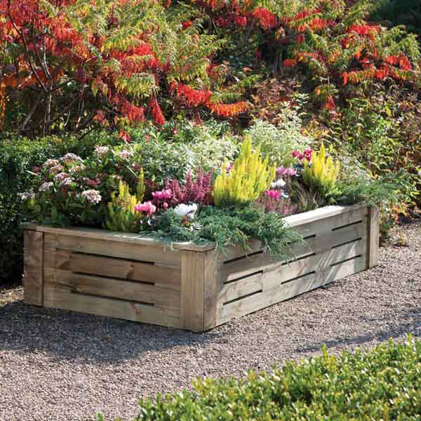 Rowlinsons Raised Wooden  Garden Planter 6ft x 3ft