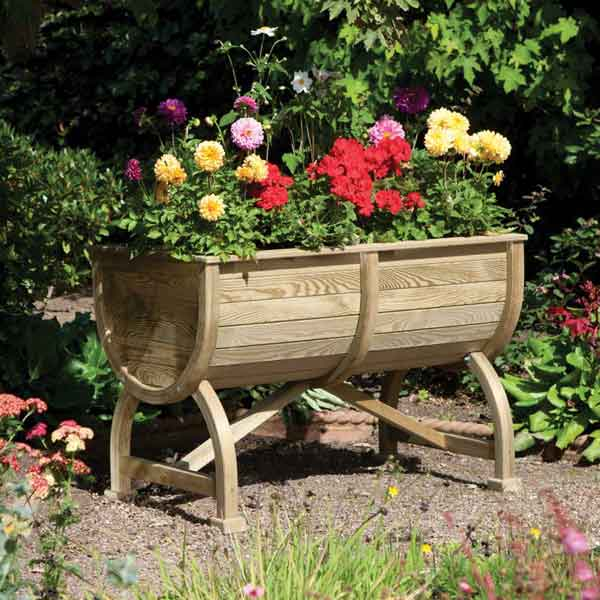 Rowlinsons Wooden Garden Marberry Barrel Planter