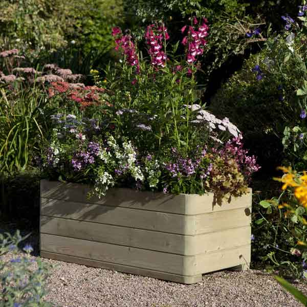 Rowlinsons Wooden Marberry Rectangular Garden  Planter