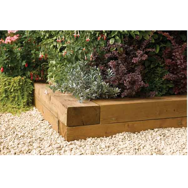 Rowlinsons Timber Blocks 0.9m (Pack of 2) Garden Planters