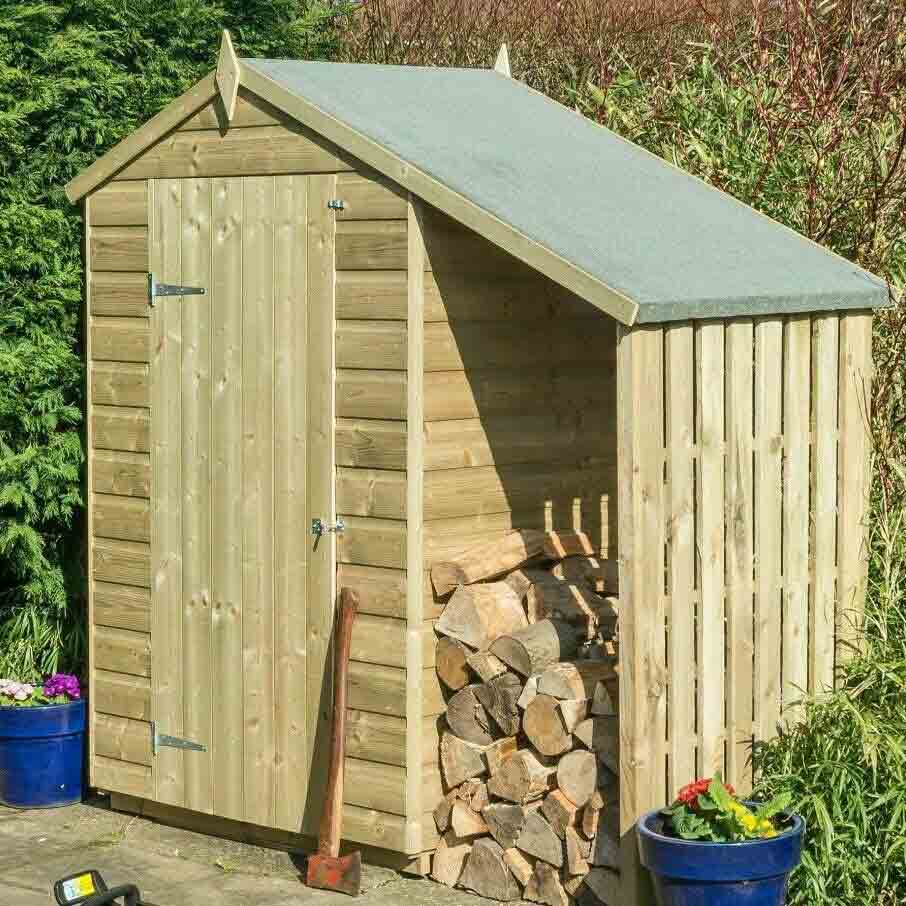 4 x 3 Wooden Apex Lean-To Log Store Shed