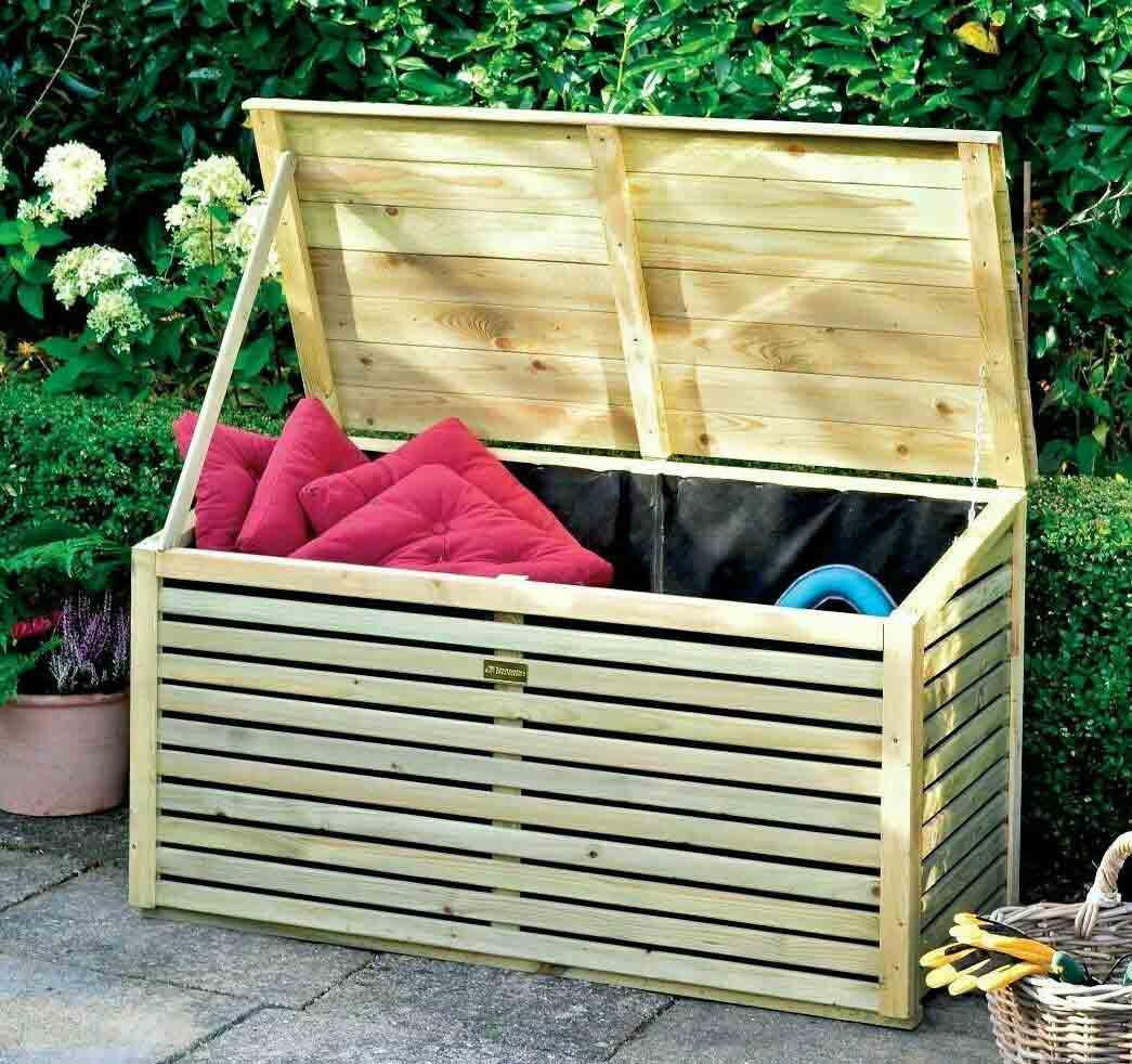 4 x 2 Wooden Slat Chest Garden Storage