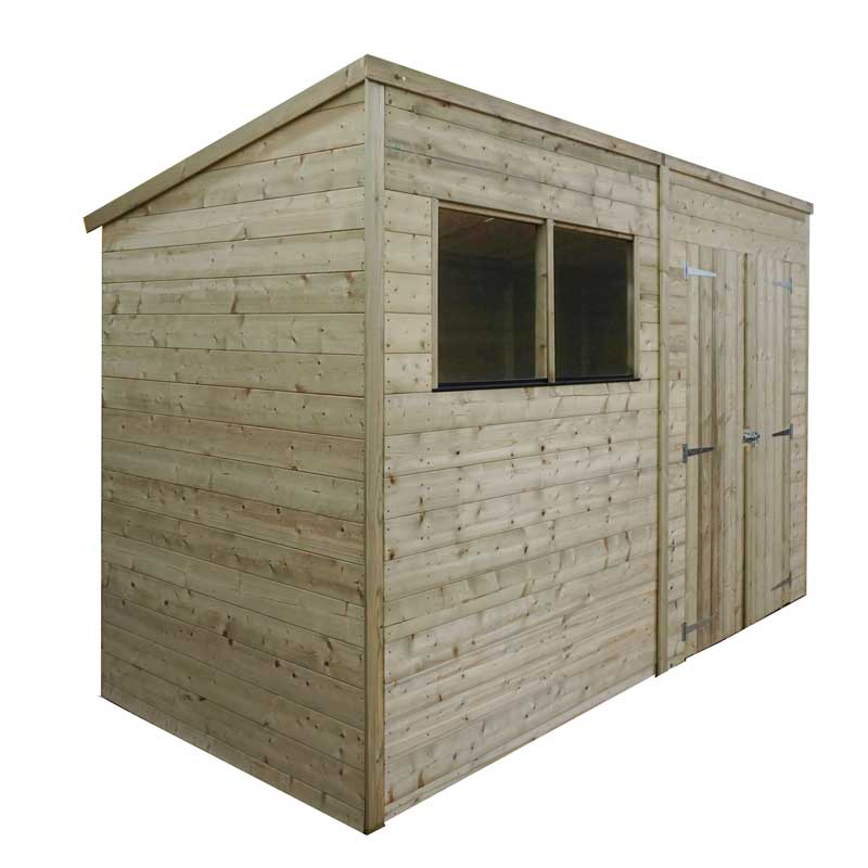 10 x 7 Shiplap Pressure Treated Pent Wooden Garden Shed Double Door