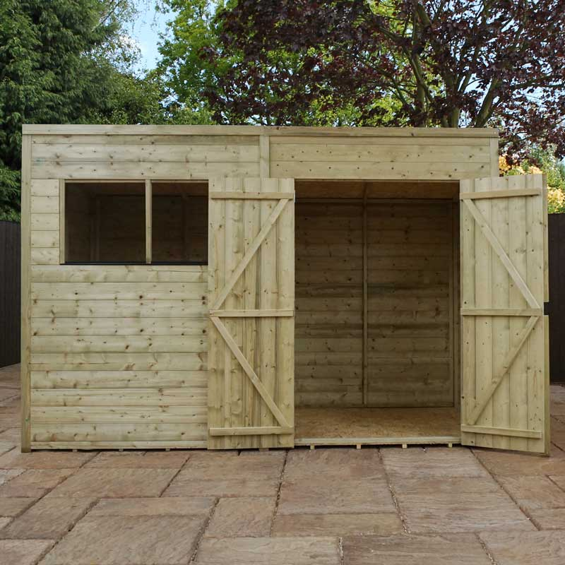 10 x 8 Shiplap Pressure Treated Pent Wooden Garden Shed Double Door