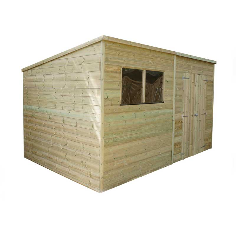 12 x 5 Shiplap Pressure Treated Pent Wooden Garden Shed Double Door