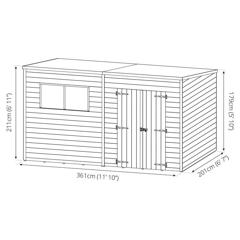 12 X 7 Shiplap Pressure Treated Pent Wooden Garden Shed Double Door