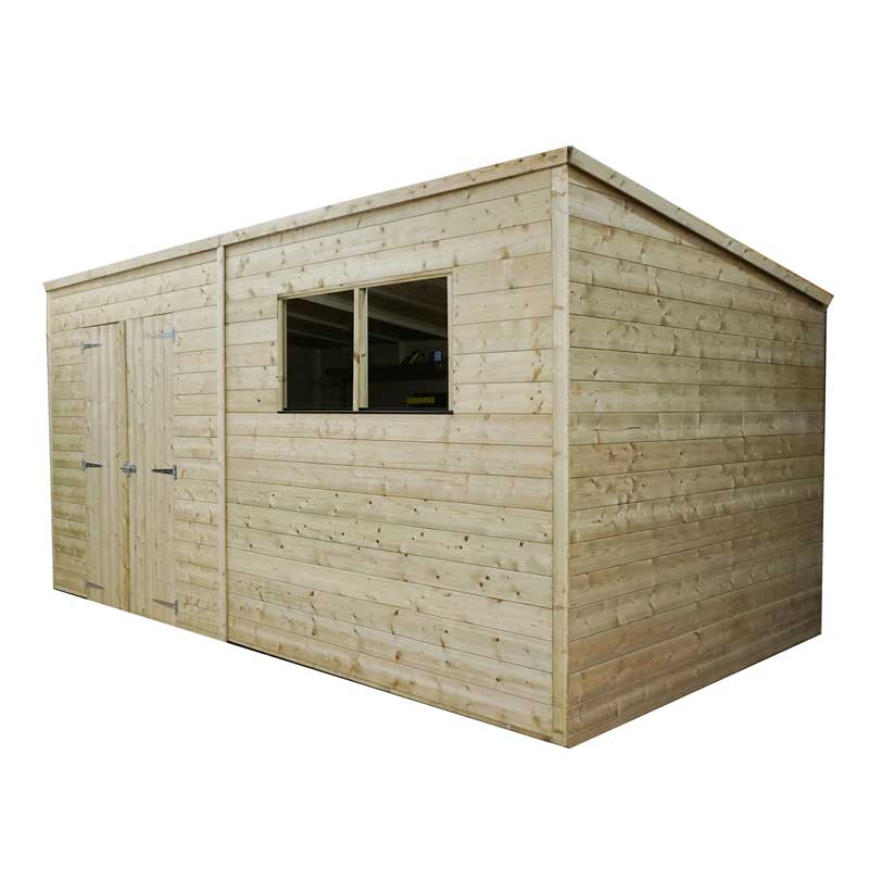 14 x 6 Shiplap Pressure Treated Pent Wooden Garden Shed Double Door