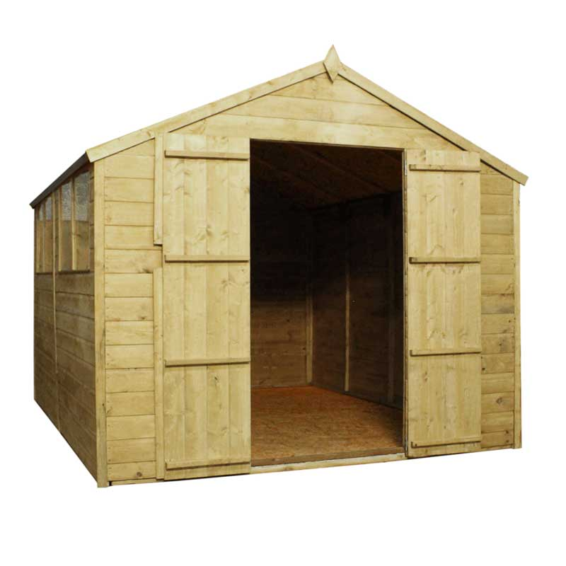 12 x 8 Shiplap Pressure Treated Apex Wooden Garden Shed Double Door