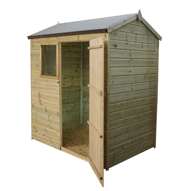 6 x 4 Shiplap Pressure Treated Reverse Apex Wooden Garden Shed Single Door