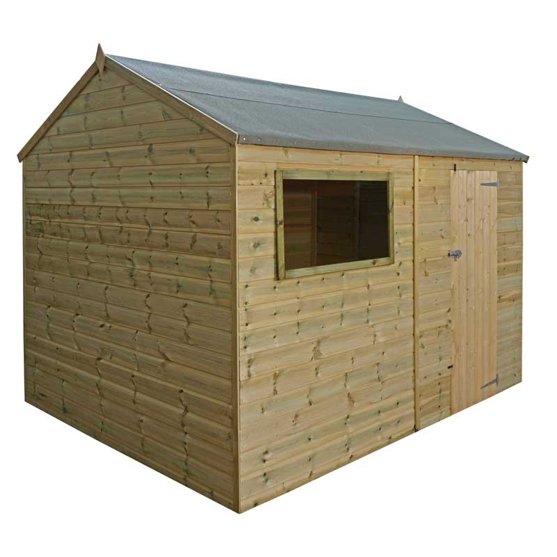 12 x 8 Shiplap Pressure Treated Reverse Apex Wooden Garden Shed Single Door